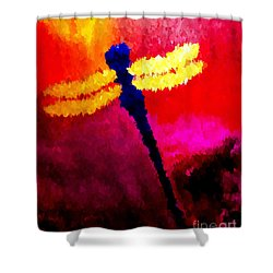 Shower Curtain featuring the painting Blue Dragonfly No 2 by Anita Lewis