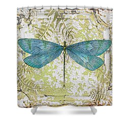 Blue Dragonfly On Vintage Tin Shower Curtain