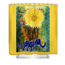 Blue Elephant In The Rainforest Shower Curtain by Mukta Gupta