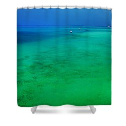 Blue Emerald. Peaceful Lagoon In Indian Ocean  Shower Curtain by Jenny Rainbow