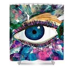 Blue Eye Female Pop Art Shower Curtain