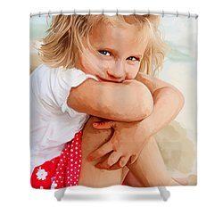 Shower Curtain featuring the painting Blue Eyed Girl by Tim Gilliland