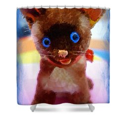 Shower Curtain featuring the painting Blue Eyed Kitty by Joan Reese