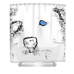Blue Eyed Pup Shower Curtain