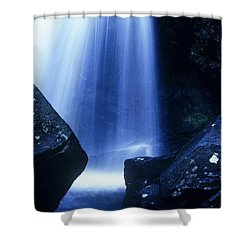 Shower Curtain featuring the photograph Blue Falls by Rodney Lee Williams