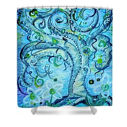 Shower Curtain featuring the painting Blue Fantasy Tree Of Life by Eloise Schneider