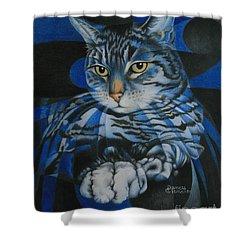 Blue Feline Geometry Shower Curtain by Pamela Clements