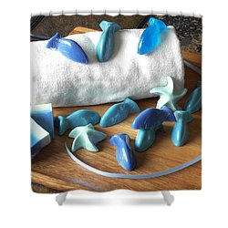Blue Fish Mini Soap Shower Curtain by Anastasiya Malakhova