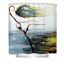 Blue Flower By Stream Shower Curtain