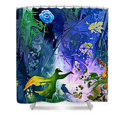 Blue Flower With Guardian Shower Curtain