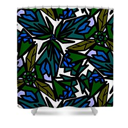 Shower Curtain featuring the digital art Blue Flowers by Elizabeth McTaggart