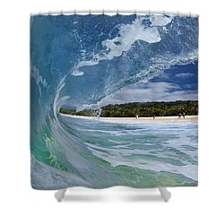 Blue Foam Shower Curtain