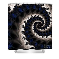 Blue Fractal Path Shower Curtain by Elizabeth McTaggart