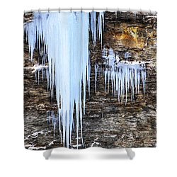 Blue Frozen Icicle Stalactites Shower Curtain