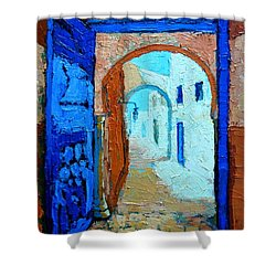 Blue Gate Shower Curtain by Ana Maria Edulescu