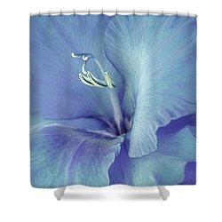 Blue Gladiolus Flower Shower Curtain by Jennie Marie Schell