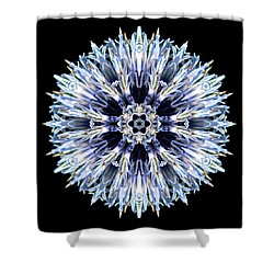 Blue Globe Thistle Flower Mandala Shower Curtain