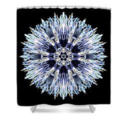 Blue Globe Thistle Flower Mandala Shower Curtain by David J Bookbinder