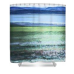 Blue Green Landscape Shower Curtain by Belinda Greb