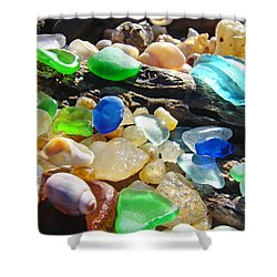 Blue Green Seaglass Art Prinst Agates Shells Shower Curtain by Baslee Troutman