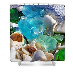 Blue Green Seaglass Shells Coastal Beach Shower Curtain by Baslee Troutman