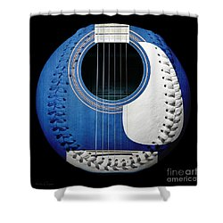 Blue Guitar Baseball White Laces Square Shower Curtain by Andee Design