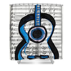 Blue Guitar Music Shower Curtain by Ecinja Art Works