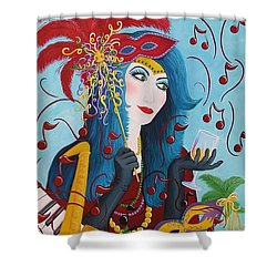 Blue Haired Lady Shower Curtain