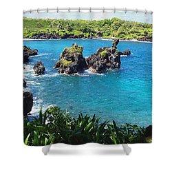 Shower Curtain featuring the photograph Blue Hawaiian Lagoon Near Blacksand Beach On Maui by Amy McDaniel