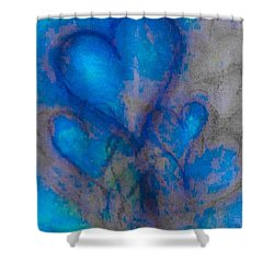 Blue Hearts Shower Curtain