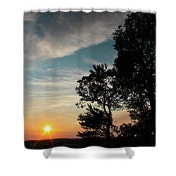 Blue Heaven Sunset Shower Curtain by Julie Andel