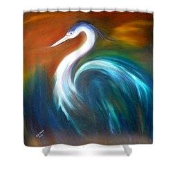 Blue Heron Shower Curtain by Dorothy Maier