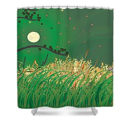 Blue Heron Grasses Shower Curtain
