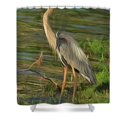 Blue Heron On The Bank Shower Curtain