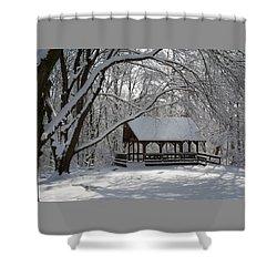 Blue Heron Park In Winter Shower Curtain