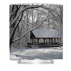 Blue Heron Park In Winter Shower Curtain by Kenneth Cole
