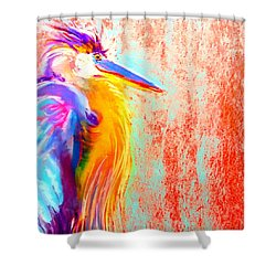 Funky Blue Heron Bird Shower Curtain