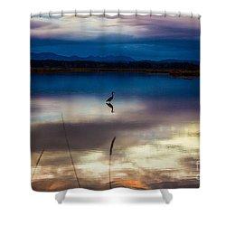 Blue Heron Sun Set Shower Curtain