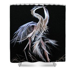 Shower Curtain featuring the painting Blue Herons Mating Dance by LaVonne Hand