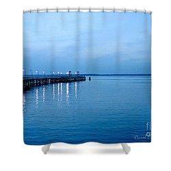 Blue Light Horizon Shower Curtain by Carol F Austin