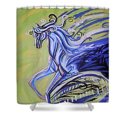 Blue Horse Shower Curtain by Genevieve Esson
