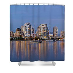 Shower Curtain featuring the photograph Blue Hour At False Creek Vancouver Bc Canada by JPLDesigns