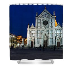 Blue Hour - Santa Croce Church Florence Italy Shower Curtain