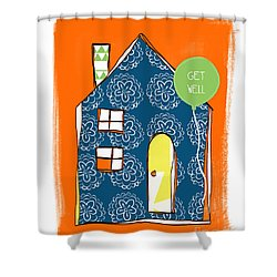 Blue House Get Well Card Shower Curtain by Linda Woods