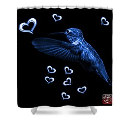Shower Curtain featuring the digital art Blue Hummingbird - 2055 F M by James Ahn