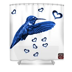 Shower Curtain featuring the digital art Blue Hummingbird - 2055 F S M by James Ahn