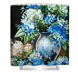 Shower Curtain featuring the painting Blue Hydrangeas by Patrice Torrillo