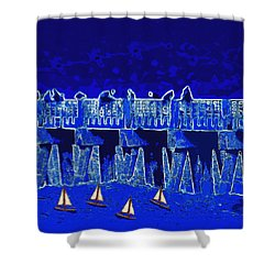 Blue II Toy Sailboats In Lake Worth Shower Curtain by David Mckinney