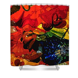 Shower Curtain featuring the digital art Blue In A Playground Of Red by Kirt Tisdale