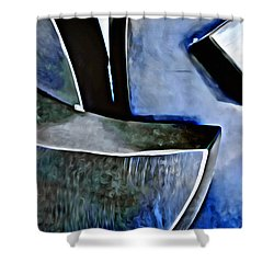 Blue Iron Shower Curtain by Joan Reese